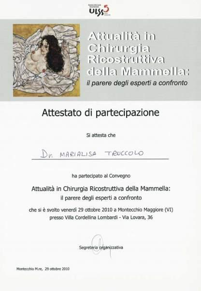 certificato chirurgia ricostruttiva mammella