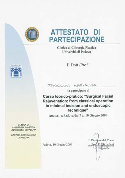 certificato chirurgia ringiovanimento del viso