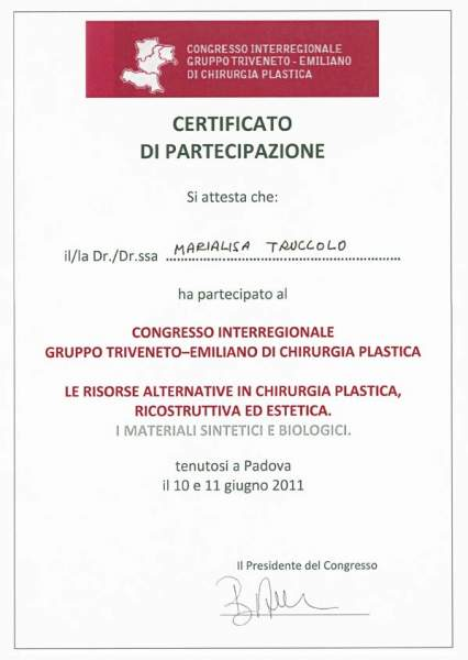 certificato chirurgia plastica, ricostruttiva ed estetica