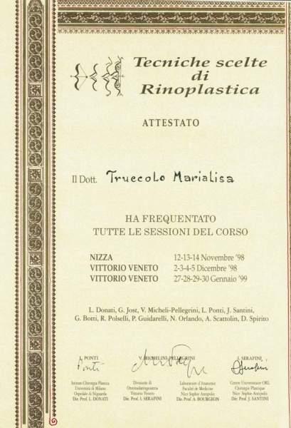 certificato chirurgia rinoplastica