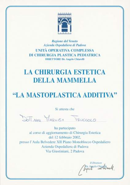 certificato chirurgia estetica della mammella
